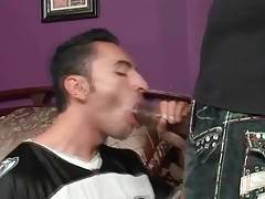 Horny black guy skillfully works his mouth at buddy`s boner.