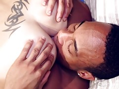 Trent turns his friend over to sample his sweet, tight hole. He rims him good in preparation for the next step.