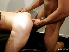 Chris takes every inch of the pounding gladly and in every which way, before Trent is ready to spit his load, and the sight of it causes Chris to nut all over Trent`s chest, leaving them both sticky and hot, and ready for round 2.
