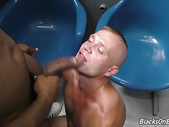 Estefan lucks out, as he finds not only a handsome black man to share his booth with, but one who`s hung! Both girthy and long! Estefan gets the fucking of a lifetime before jerking a wad all over himself!