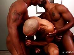 After Bam Bam gets a taste of both hard cocks, Osiris lets Dylan slide his fat erection in and out of his mouth, while Bam Bam works on Osiris`s boner.