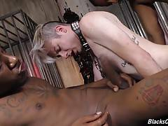 Deep and Kidd stretch all of Skylar`s little pink holes to their maximum circumference before shooting their loads wherever they see fit.