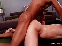 Trent tells Beau to prepare as he slowly pushes his uncut dick into that tight smooth ass. Beau can feel every inch pulsating as his ass clinches all around Trent`s sexy dick. Trent uses his masterpiece in many positions fucking Beau until he explodes lik
