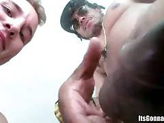 Naughty white guy does his best to warm black dude up with oral.