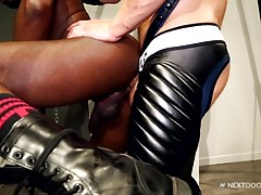 The experience turns Caleb to thinking about going a step further. After some good ass eating, Caleb stands up and shoves his thick boner into JP`s tight hole.